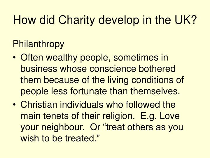 How did charity develop in the uk