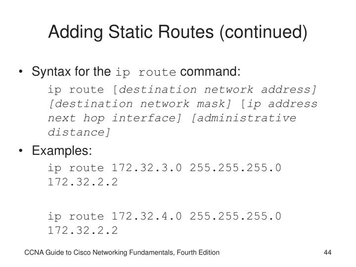 Adding Static Routes (continued)