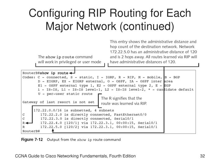 Configuring RIP Routing for Each Major Network (continued)