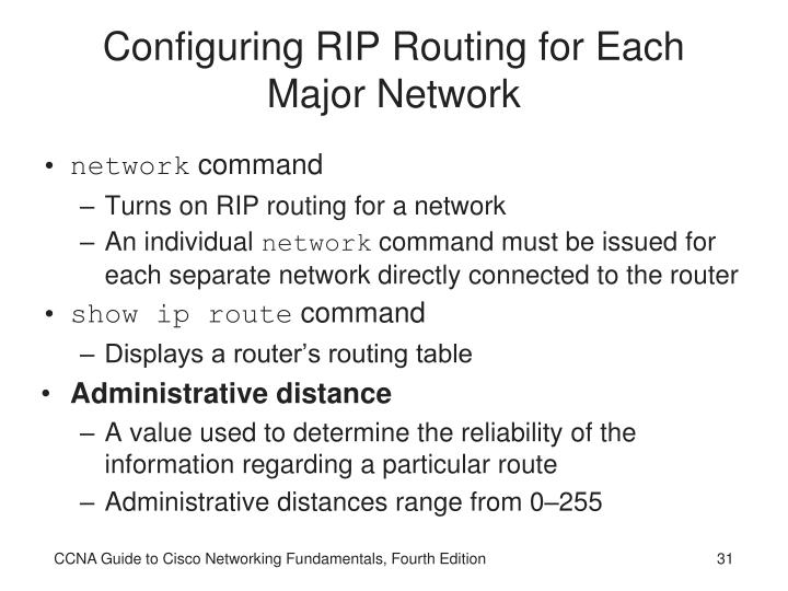 Configuring RIP Routing for Each Major Network