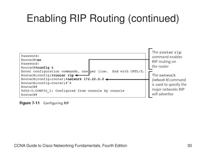 Enabling RIP Routing (continued)