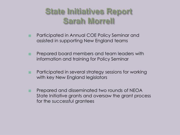 State Initiatives Report