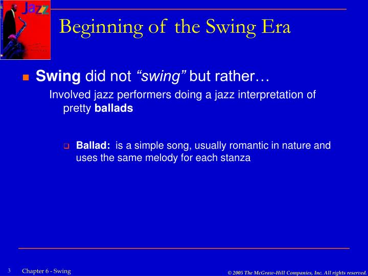 Beginning of the swing era1