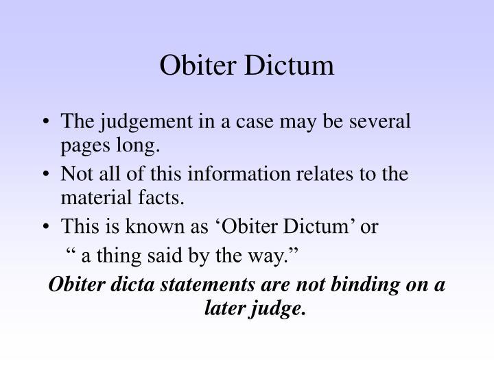 Ratio decidendi obiter dicta essay