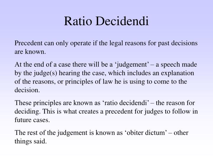 ratio decidendi obiter dicta essay