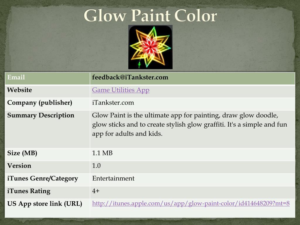 Glow Paint Color