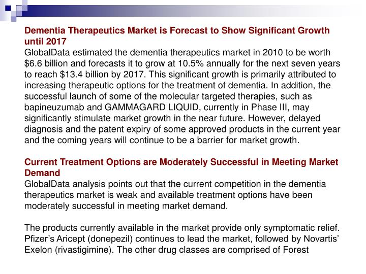 Dementia Therapeutics Market is Forecast to Show Significant Growth until 2017