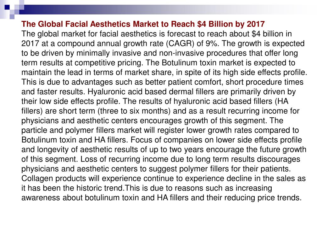 The Global Facial Aesthetics Market to Reach $4 Billion by 2017