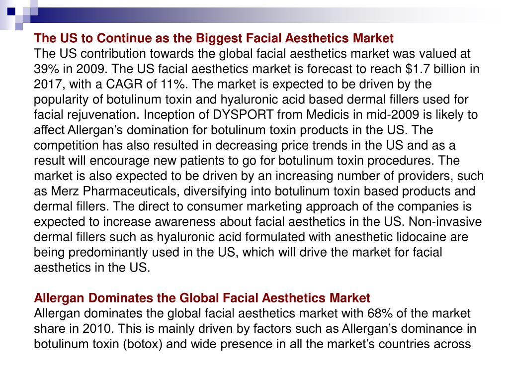 The US to Continue as the Biggest Facial Aesthetics Market