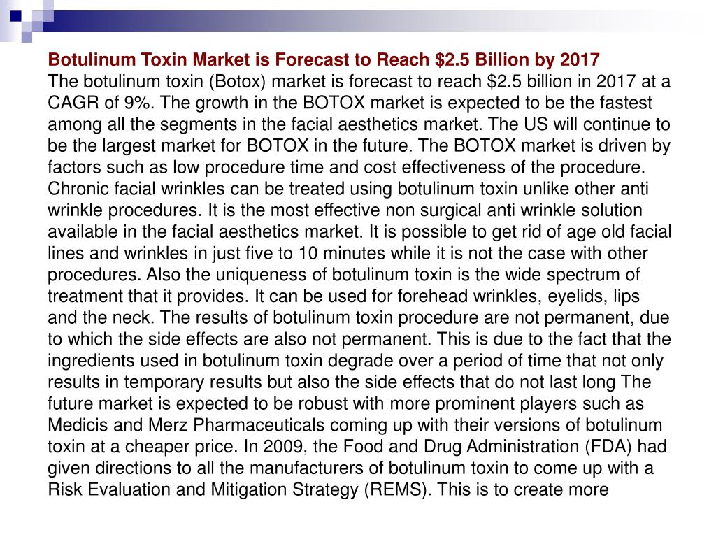 Botulinum Toxin Market is Forecast to Reach $2.5 Billion by 2017
