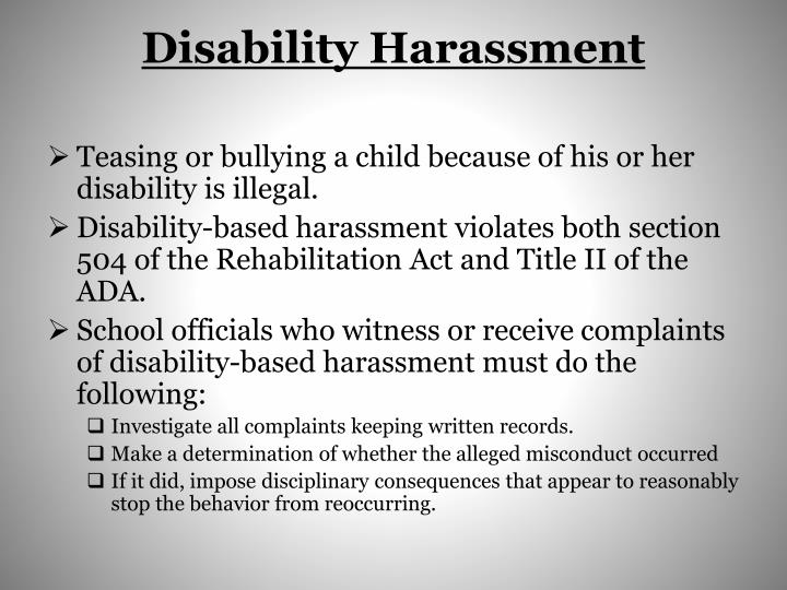 The ada and disability related harassment
