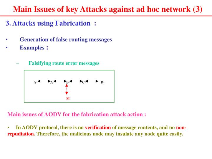 Main Issues of key Attacks against ad hoc network (3)