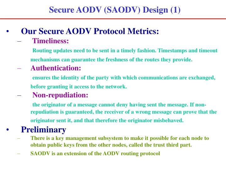 Secure AODV (SAODV) Design (1)