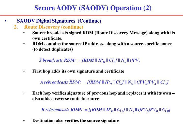 Secure AODV (SAODV) Operation (2)