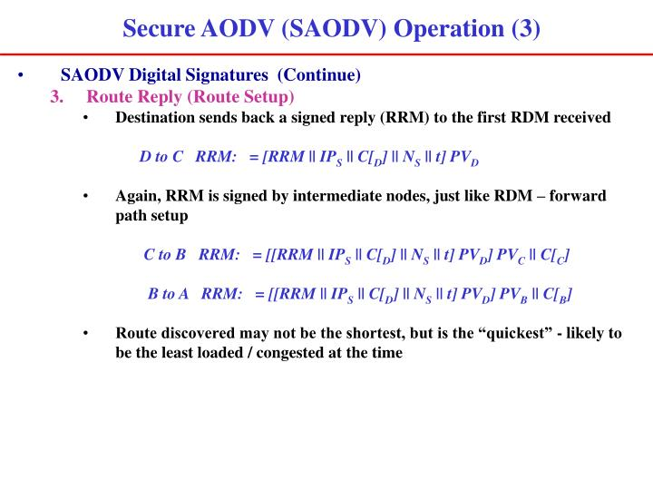 Secure AODV (SAODV) Operation (3)