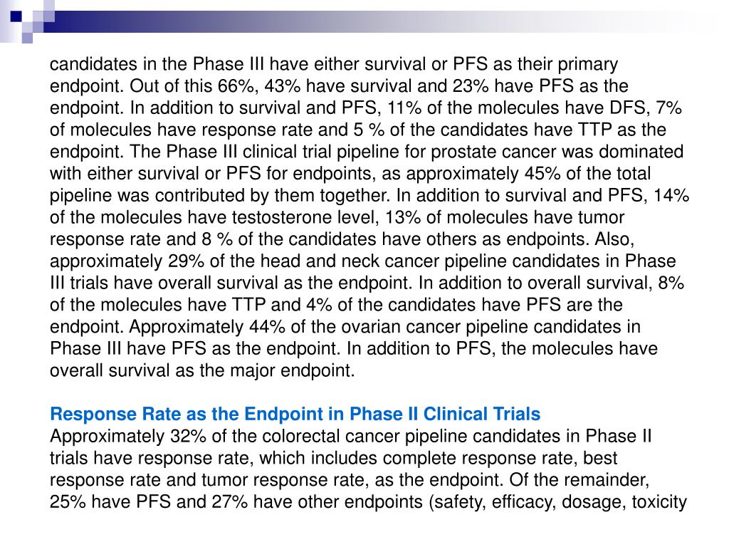candidates in the Phase III have either survival or PFS as their primary endpoint. Out of this 66%, 43% have survival and 23% have PFS as the endpoint. In addition to survival and PFS, 11% of the molecules have DFS, 7% of molecules have response rate and 5 % of the candidates have TTP as the endpoint. The Phase III clinical trial pipeline for prostate cancer was dominated