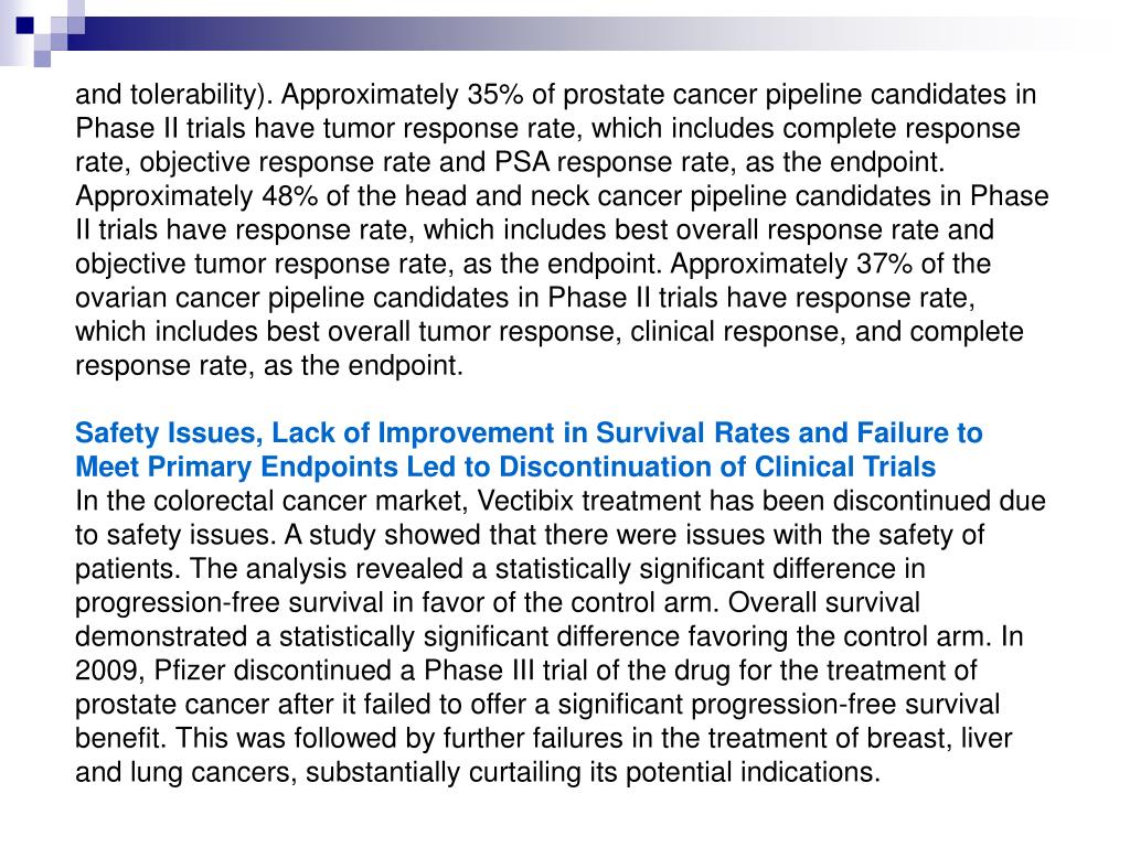 and tolerability). Approximately 35% of prostate cancer pipeline candidates in Phase II trials have tumor response rate, which includes complete response rate, objective response rate and PSA response rate, as the endpoint. Approximately 48% of the head and neck cancer pipeline candidates in Phase II trials have response rate, which includes best overall response rate and objective tumor response rate, as the endpoint. Approximately 37% of the ovarian cancer pipeline candidates in Phase II trials have response rate, which includes best overall tumor response, clinical response, and complete response rate, as the endpoint.