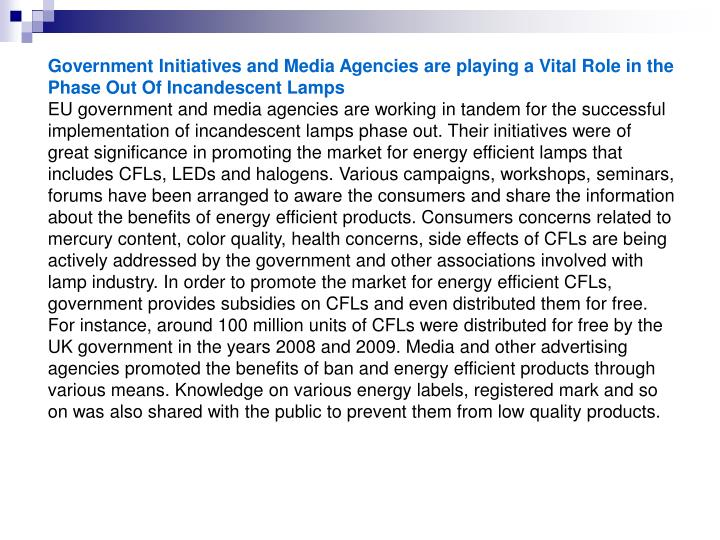Government Initiatives and Media Agencies are playing a Vital Role in the Phase Out Of Incandescent ...