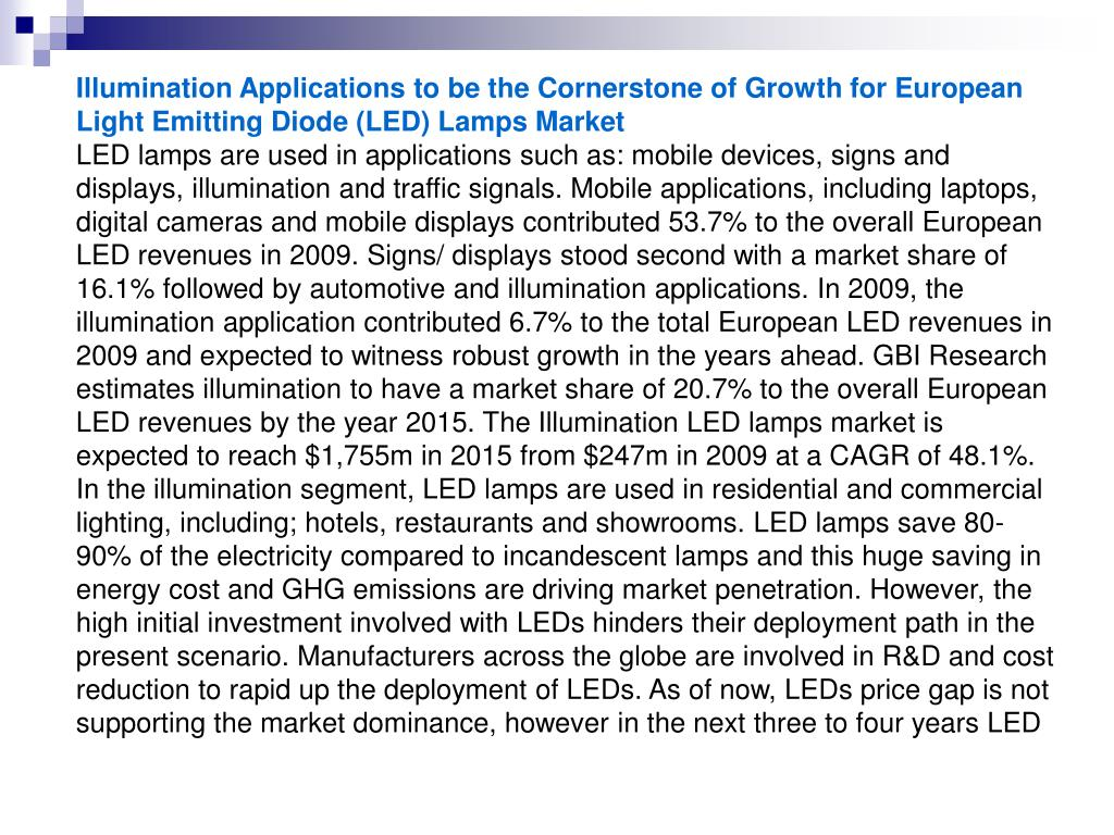 Illumination Applications to be the Cornerstone of Growth for European Light Emitting Diode (LED) Lamps Market