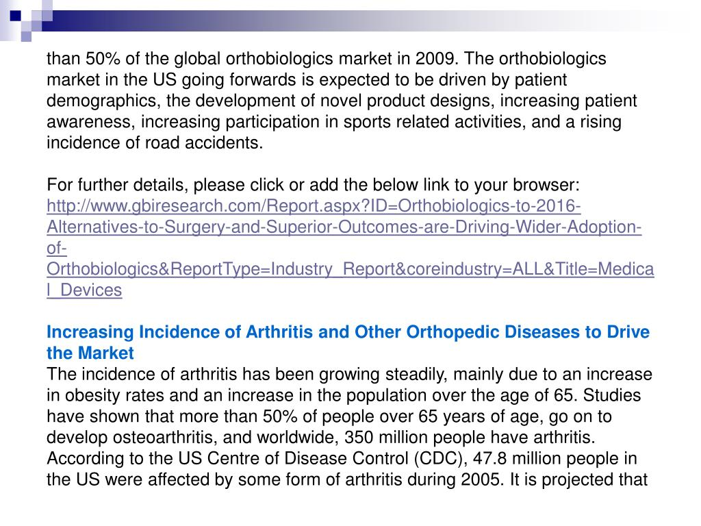 than 50% of the global orthobiologics market in 2009. The orthobiologics market in the US going forwards is expected to be driven by patient demographics, the development of novel product designs, increasing patient awareness, increasing participation in sports related activities, and a rising incidence of road accidents.