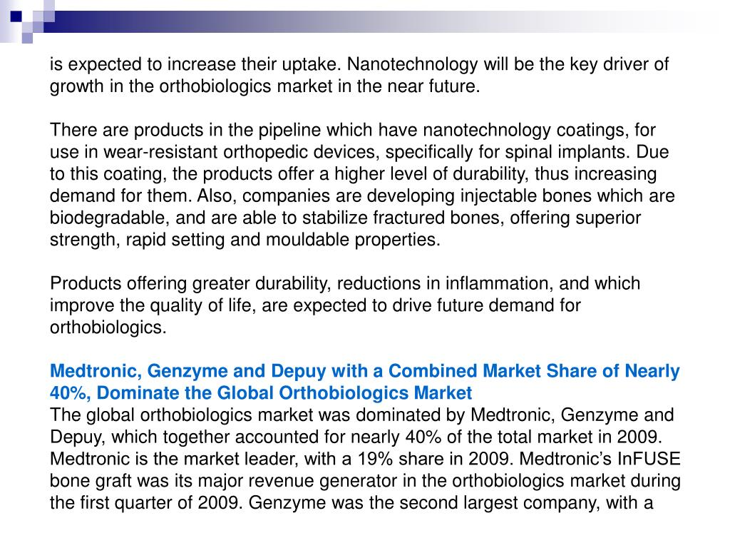 is expected to increase their uptake. Nanotechnology will be the key driver of growth in the orthobiologics market in the near future.