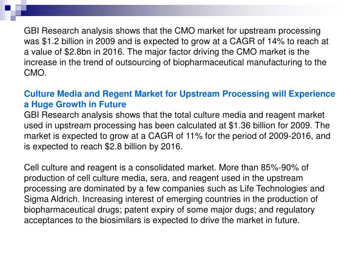 GBI Research analysis shows that the CMO market for upstream processing was $1.2 billion in 2009 and...