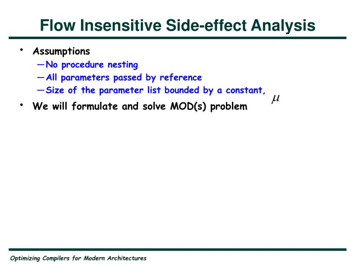 Flow Insensitive Side-effect Analysis
