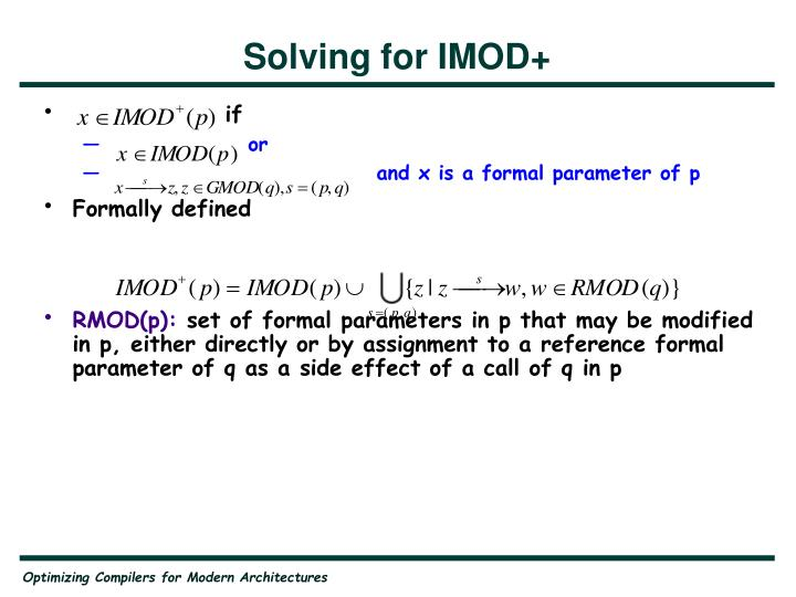 Solving for IMOD+