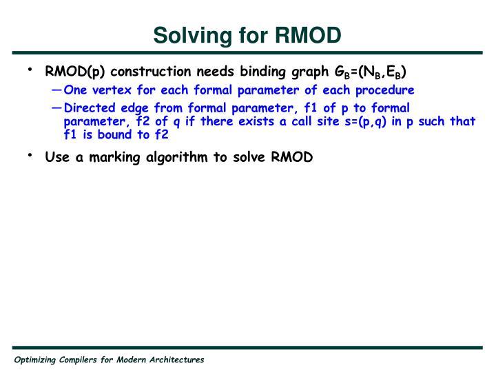 Solving for RMOD