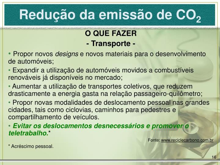 Redução da emissão de CO