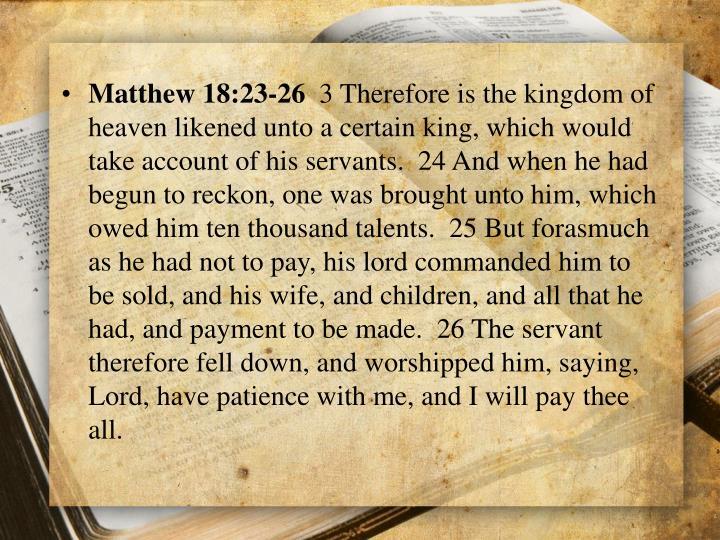 Matthew 18:23-26