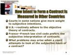 how intent to form a contract is measured in other countries