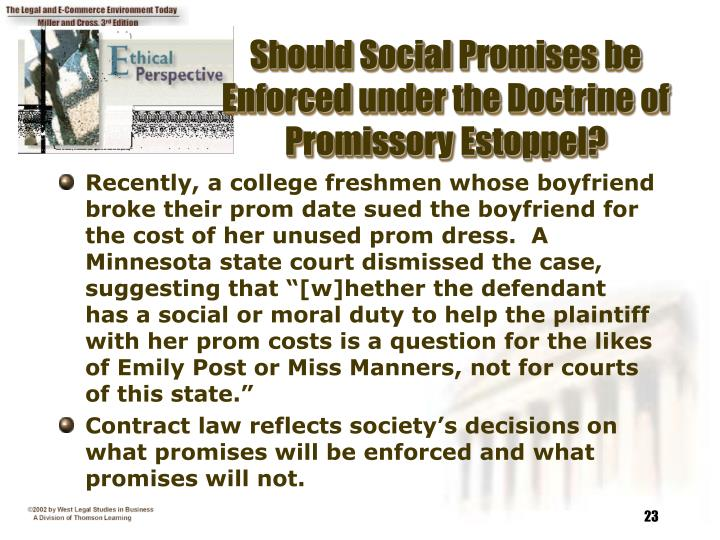 Should Social Promises be Enforced under the Doctrine of Promissory Estoppel?