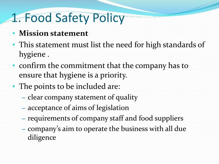 1. Food Safety Policy