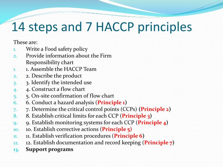 14 steps and 7 HACCP principles