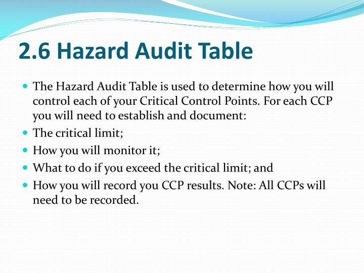 2.6 Hazard Audit Table