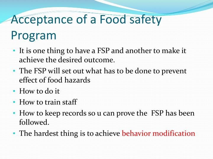 Acceptance of a Food safety Program