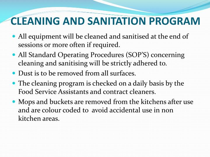 CLEANING AND SANITATION PROGRAM