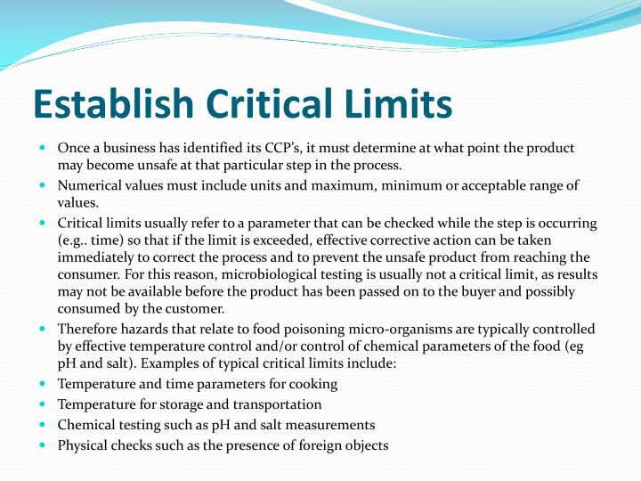 Establish Critical Limits