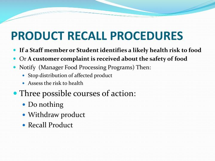 PRODUCT RECALL PROCEDURES