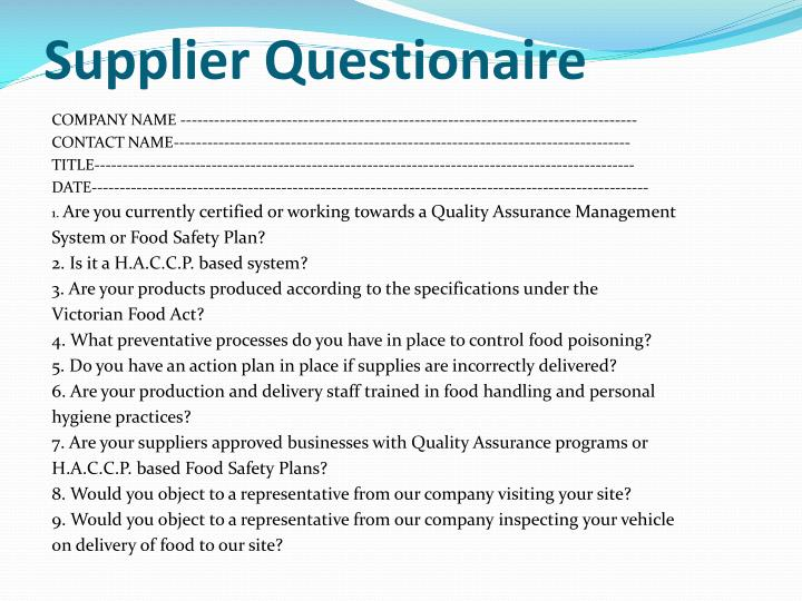 Supplier Questionaire
