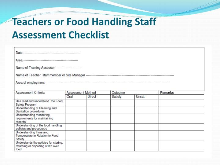 Teachers or Food Handling Staff Assessment Checklist