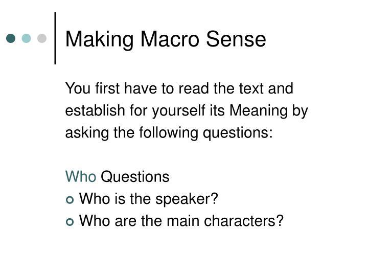 Making Macro Sense
