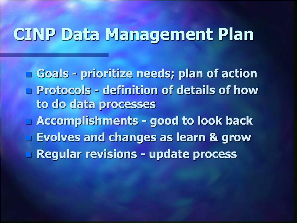 CINP Data Management Plan