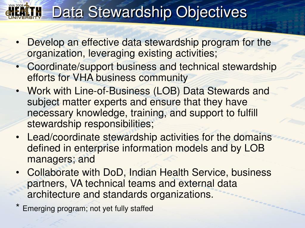 Data Stewardship Objectives