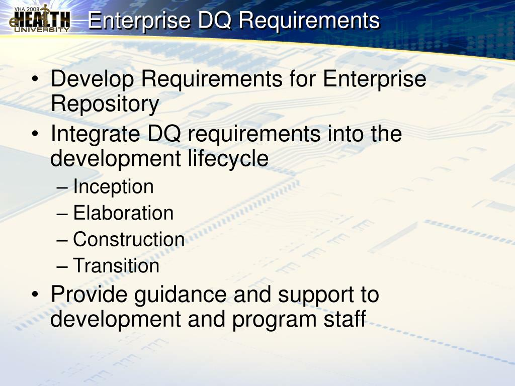 Enterprise DQ Requirements