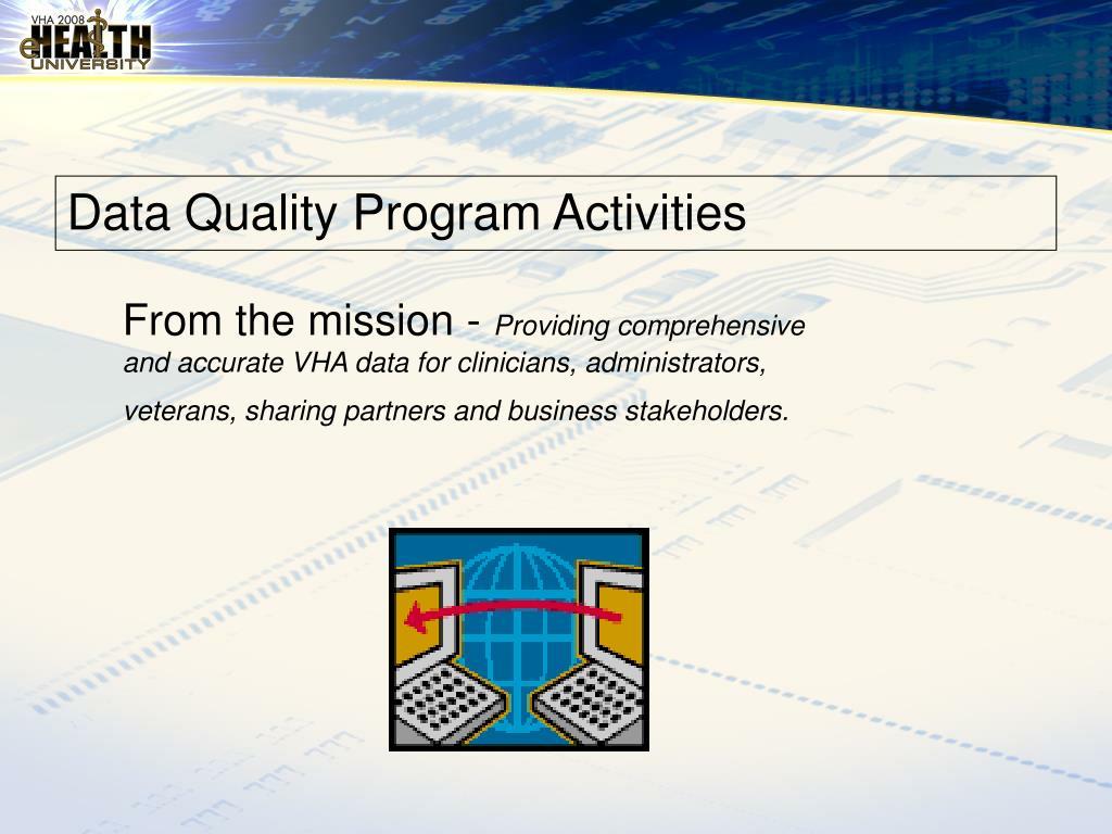 Data Quality Program Activities