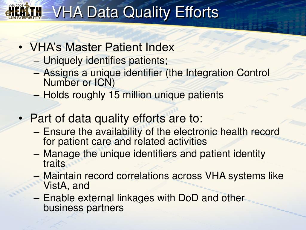 VHA Data Quality Efforts