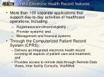 vha s electronic health record features