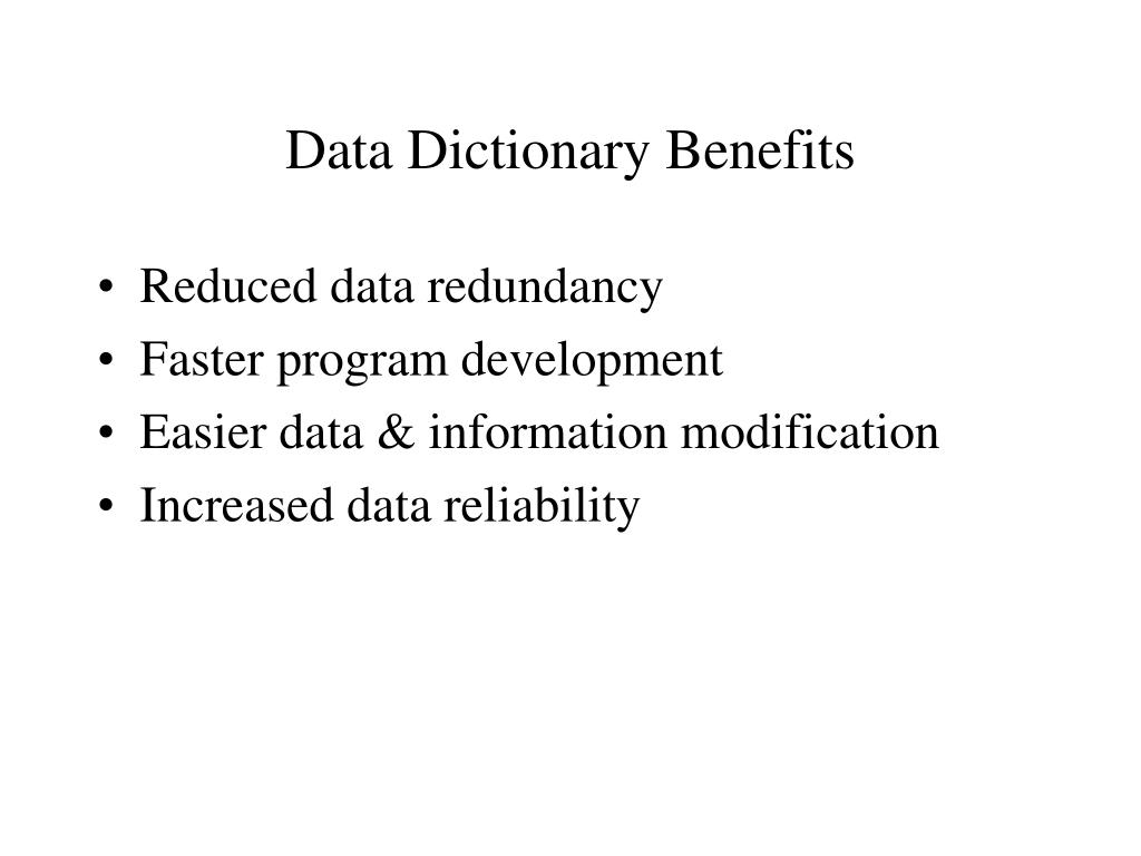 Data Dictionary Benefits